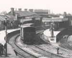 Black and white photograph of shunting at Drogheda.